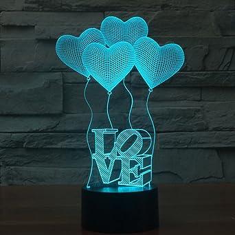 3D Optisch Illusions-Lampen LED Lampe Kopfhörer Nacht USB-Stromversorgung 7 Farben Blinken ändern Touch zum Kinder Geschenk für Tischdekoration und Nacht Dekoration fürs Wohnzimmer Nachtlicht Tisch- & Stehleuchten Tisch- & Nachttischlampen