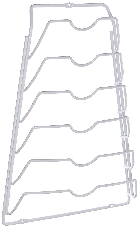 Organize It All Wall Cabinet Door Mounted Metal Pot Lid Rack, White