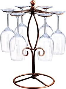 GeLive Bronze Wine Glass Rack, Freestanding Stemware Holder, Glass Hanger Stand With 6 Hooks for Home and Bar Storage, Artistic Tabletop Display