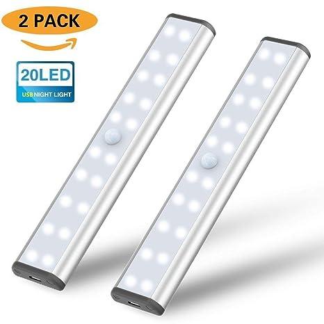 Lámpara LED de Armario, Barra de Luz con Sensor de Movimiento 20 LEDs Luz de