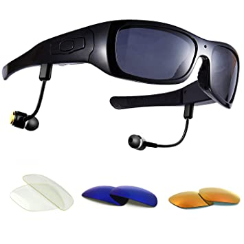 dccn bluet oothe Cámara Gafas Cam Gafas de sol polarizadas con cámara UV400 Stereo Bluetooth Headset auriculares para iPhone/Android Teléfono Móvil ...