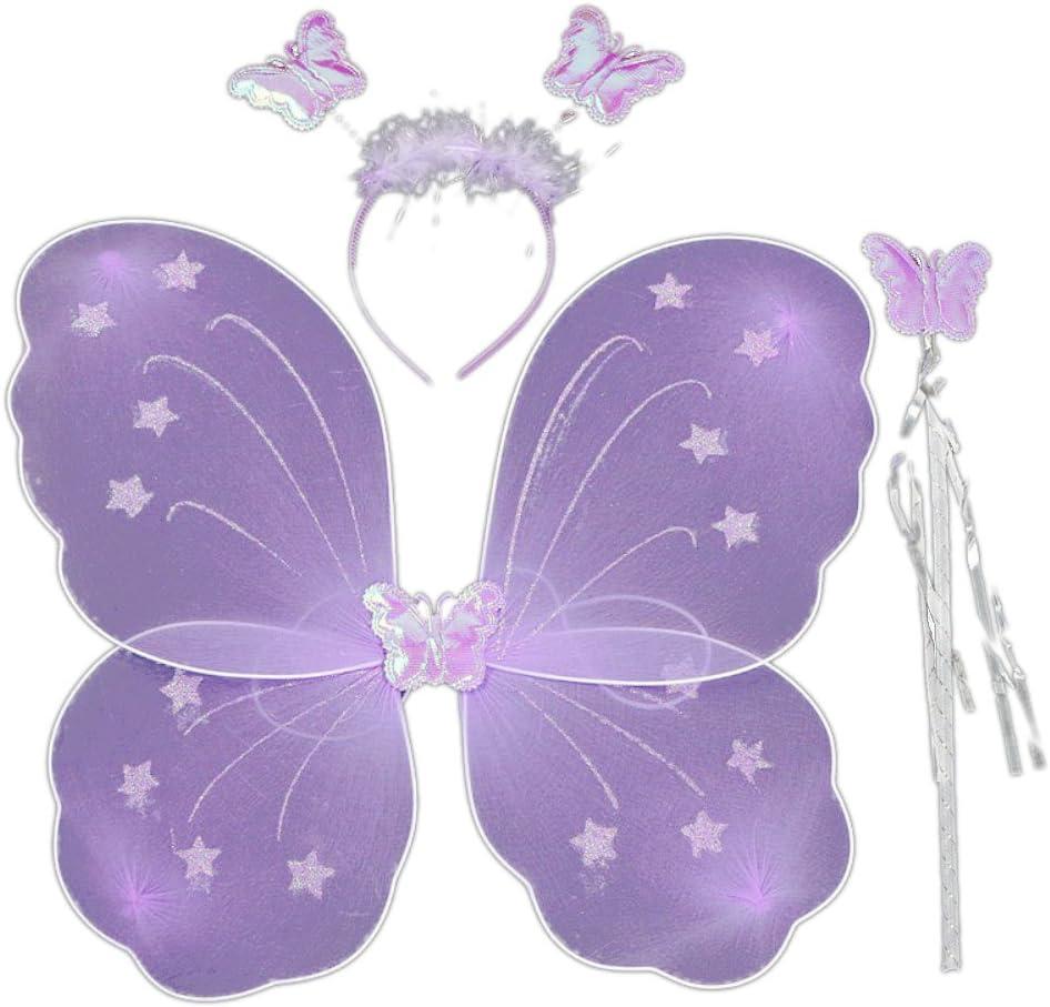 Etopfashion Fairy Xmas Party Dress Up Butterfly Wing Wand Headband Costume 3Pcs//set