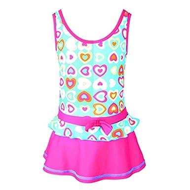5f14202c7e Centrawin Girl's Kids One Piece Swimsuit Dress Ruffles Colorful Love Heart  Printed Swimwear Beachwear