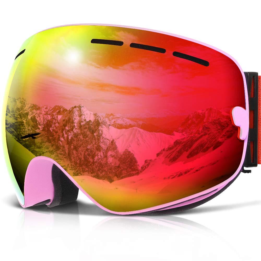 COPOZZ Ski Goggles, G1 OTG Snowboard Snow Goggles for Men Women Youth Anti-Fog UV Protection, Polarized Lens Available (G1 Ski Goggles Pink Frame/Red Lens (VLT 20.5%), G1 Ski Goggles) by COPOZZ