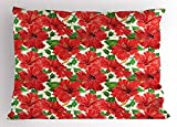 Ambesonne Hawaii Pillow Sham, Botanic Inspirations Floral Bouquet Hand Drawn Red Hibiscuses Retro Theme, Decorative Standard Size Printed Pillowcase, 26 X 20 Inches, Beige Fern Green Red