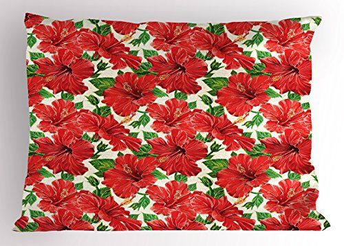 Ambesonne Hawaii Pillow Sham, Botanic Inspirations Floral Bouquet Hand Drawn Red Hibiscuses Retro Theme, Decorative Standard Size Printed Pillowcase, 26 X 20 Inches, Beige Fern Green Red by Ambesonne