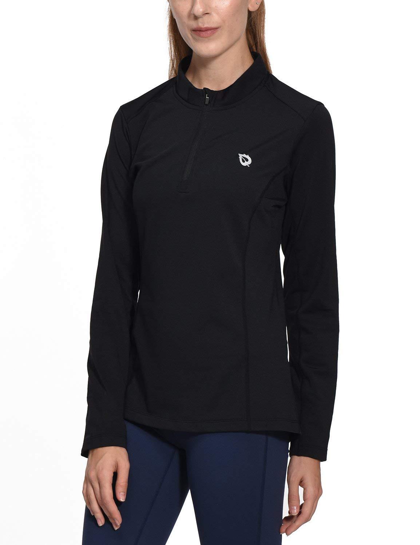 Baleaf Women's Thermal Running Shirts Long Sleeve 1/4 Zip Pullover Black XS
