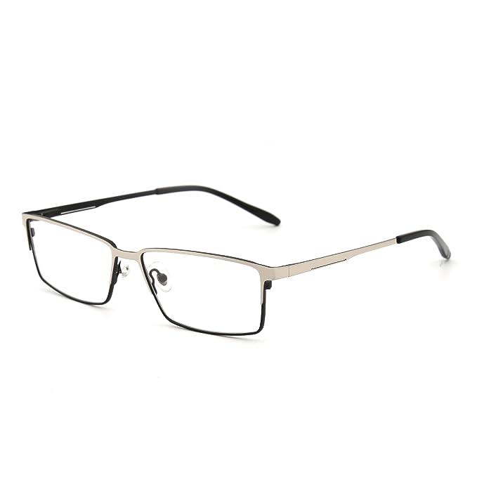 9e8d14bb016f Prescription Optical Frame Spring Hinge Metal RX-able Eyeglasses Clear Lens  Men (Silver
