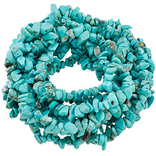 Stone Chip (SUNYIK Howlite Turquoise Tumbled Chip Stone Irregular Shaped Drilled Loose Beads Strand for Jewelry Making 35