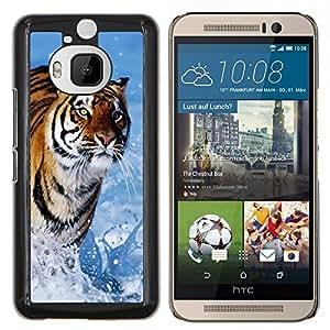 YiPhone /// Prima de resorte delgada de la cubierta del caso de Shell Armor - Tiger Blue Water Naturaleza Verano - HTC One M9Plus M9+ M9 Plus