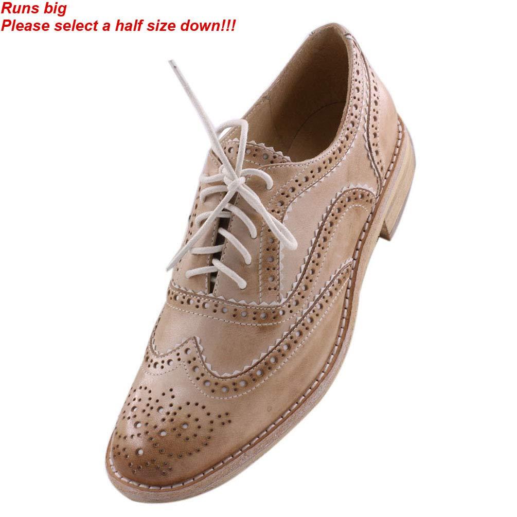 1d0d4194bdf2 JARO VEGA Women s Comfort Leather Sole Perforated Lace Up Wingtip Vintage Oxford  Flats Shoes Bone 8