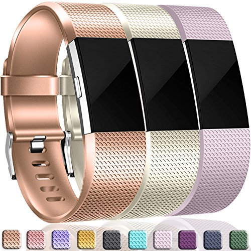 Wepro Bands Compatible with Fitbit Charge 2, 3-Pack, Rose Gold/Champagne/Lavender, Small