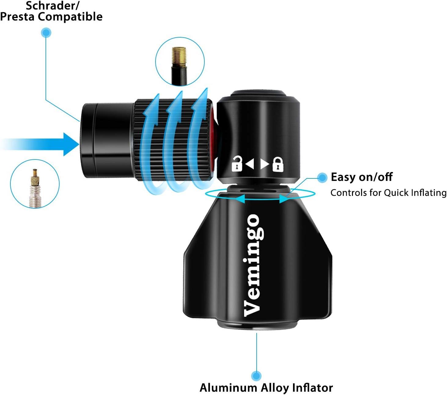 Kartuschenpumpe Fahrrad Minipumpe für Presta und Schrader Ventile Keine Kartusche enthalten Upgrade Fahrradpumpe CO2 einfaches und schnelles Aufpumpen von Fahrradreifen