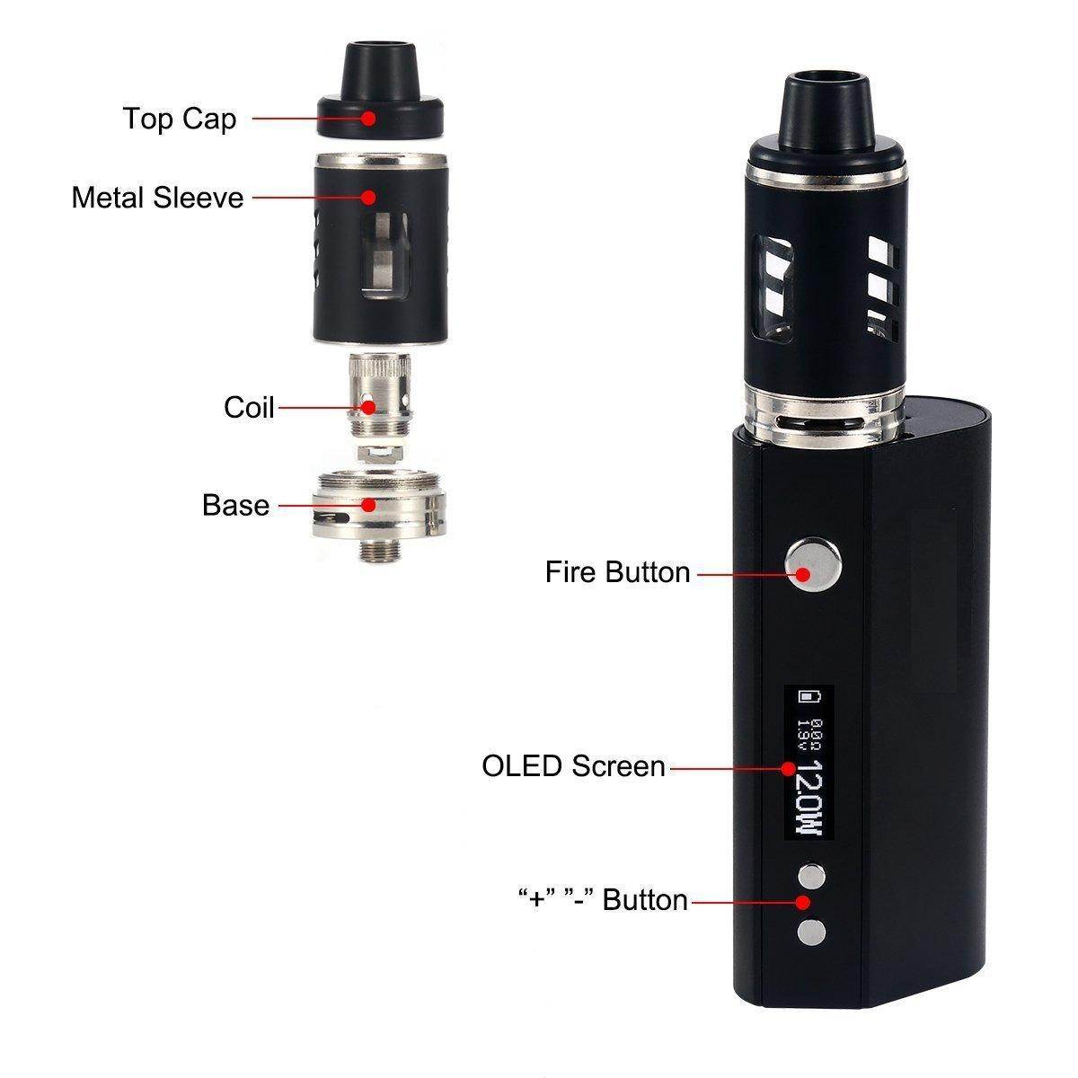 Cigarrillo Electrónico, 80W Función de Relleno a Tope Atomizer 0.3ohm,Atomizadore Vapeador Kit de cigarrillo electrónico, Kit de E- Cigarrillo, Sin Nicotina ...