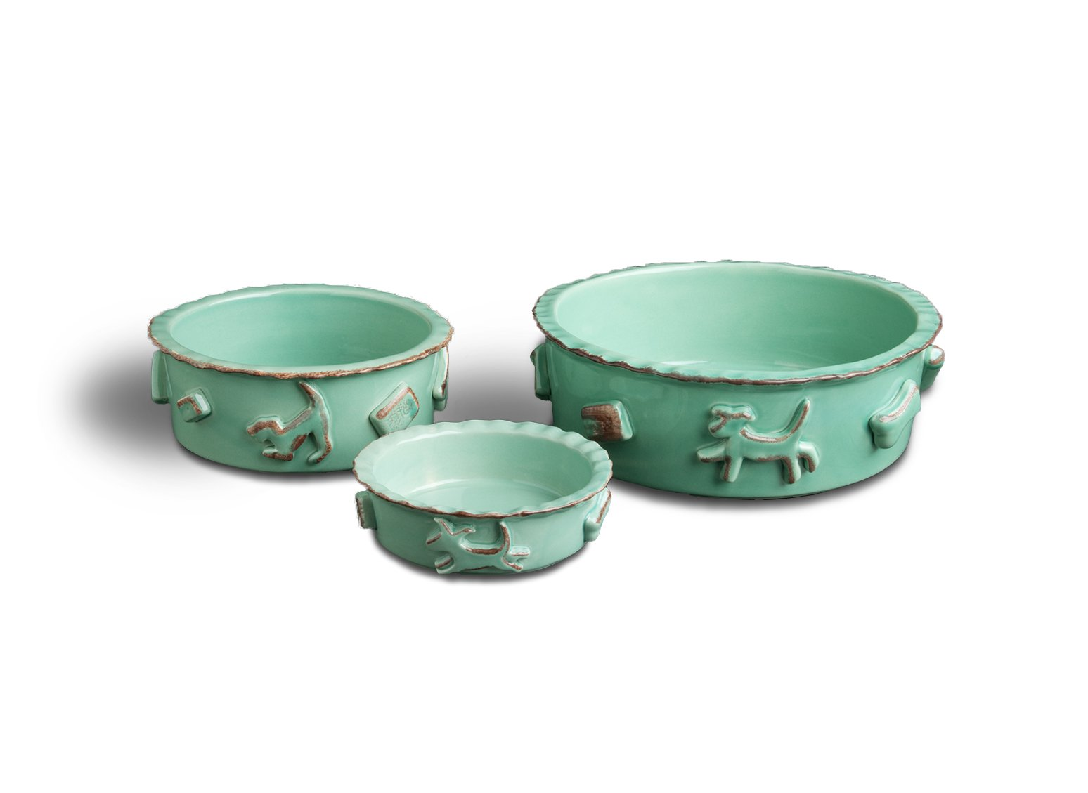 Carmel Ceramica PDLA3001  Aqua/Green Dog Food/Water Bowl, Large