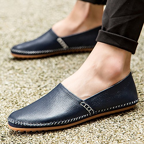 fisca Mens Leather Driving Loafers Slip-on Moccasins Casual Flat Penny Shoes Blue ZBkqdbO9ok