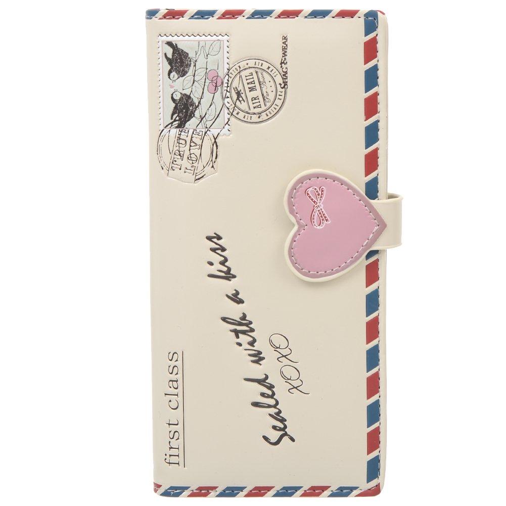 Shag Wear Women's Large Wallet Vintage Love Letter Beige