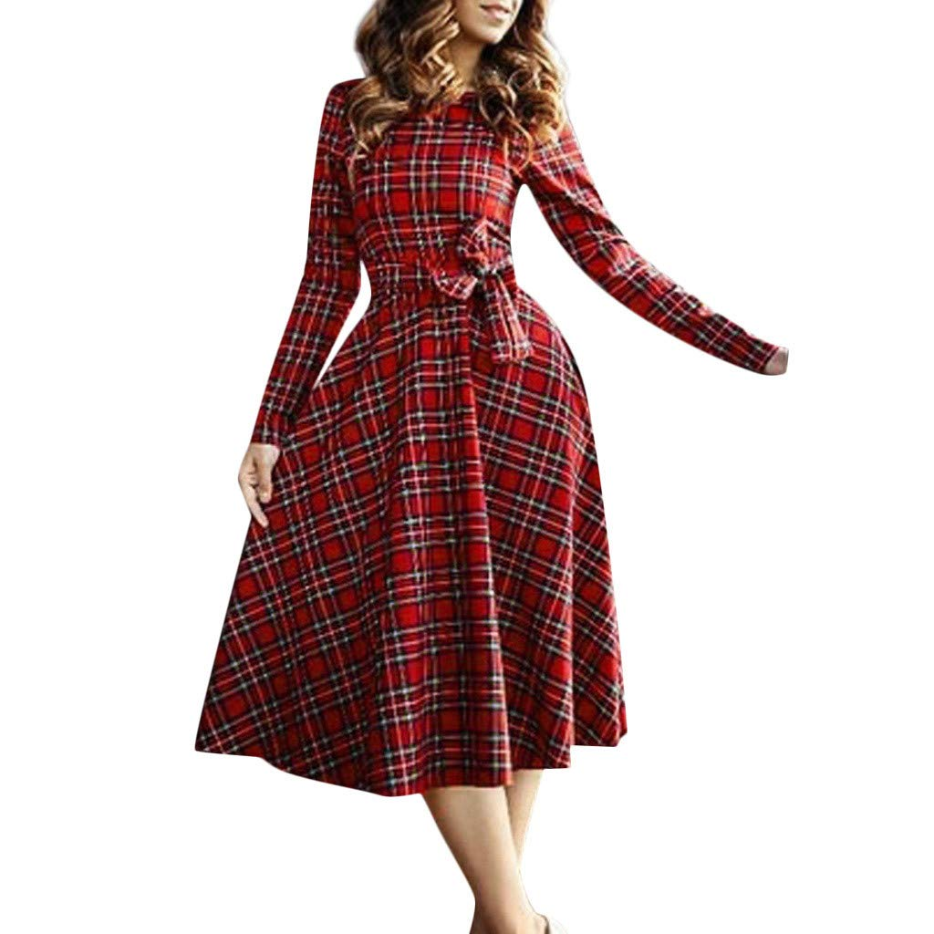 Kehen Women Slim Fit Retro Round Neck Plaid Dresses 1950s Vintage Cocktail Party Evening Swing Dress with Bow