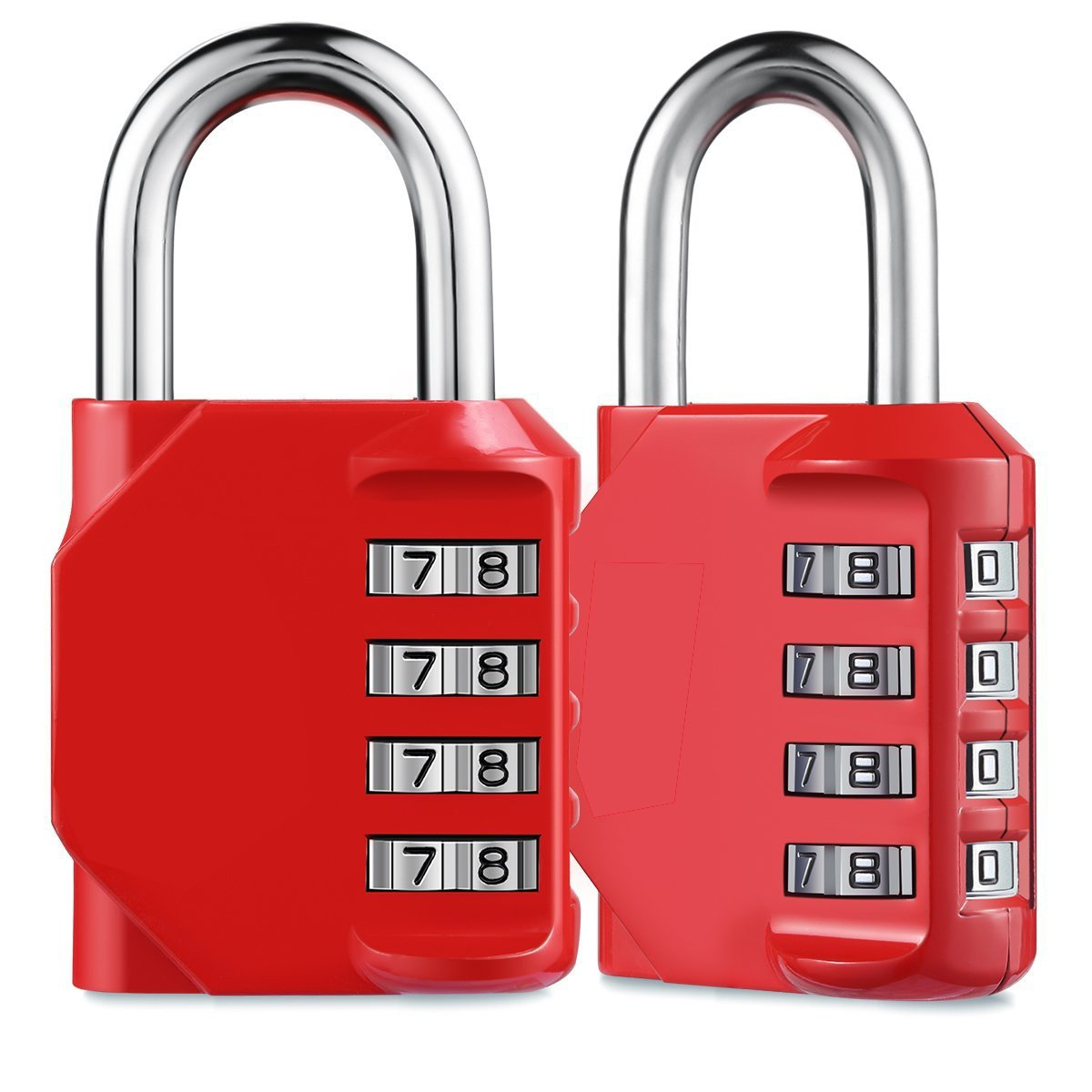 AIZESI 2PCS Combination Padlock, 4 Digit Combination Lock Outdoor for School Gym lockers, Zinc Alloy(RED-2PCS)