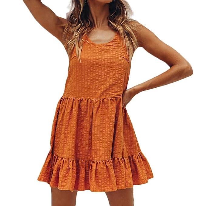 86e71296759 Rcool Vestido Cortos Mujer Verano de Playa Vestido Corto sin Mangas Vestido  sin Mangas