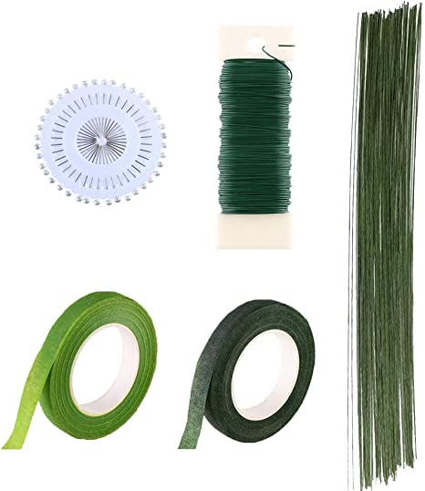 CCINEE Floral Arranging Kits 1//2 Inch Dark Green Floral Tape with 22 Guage Dark Green Paddle Wire 40 Meters// 43.7 Feet