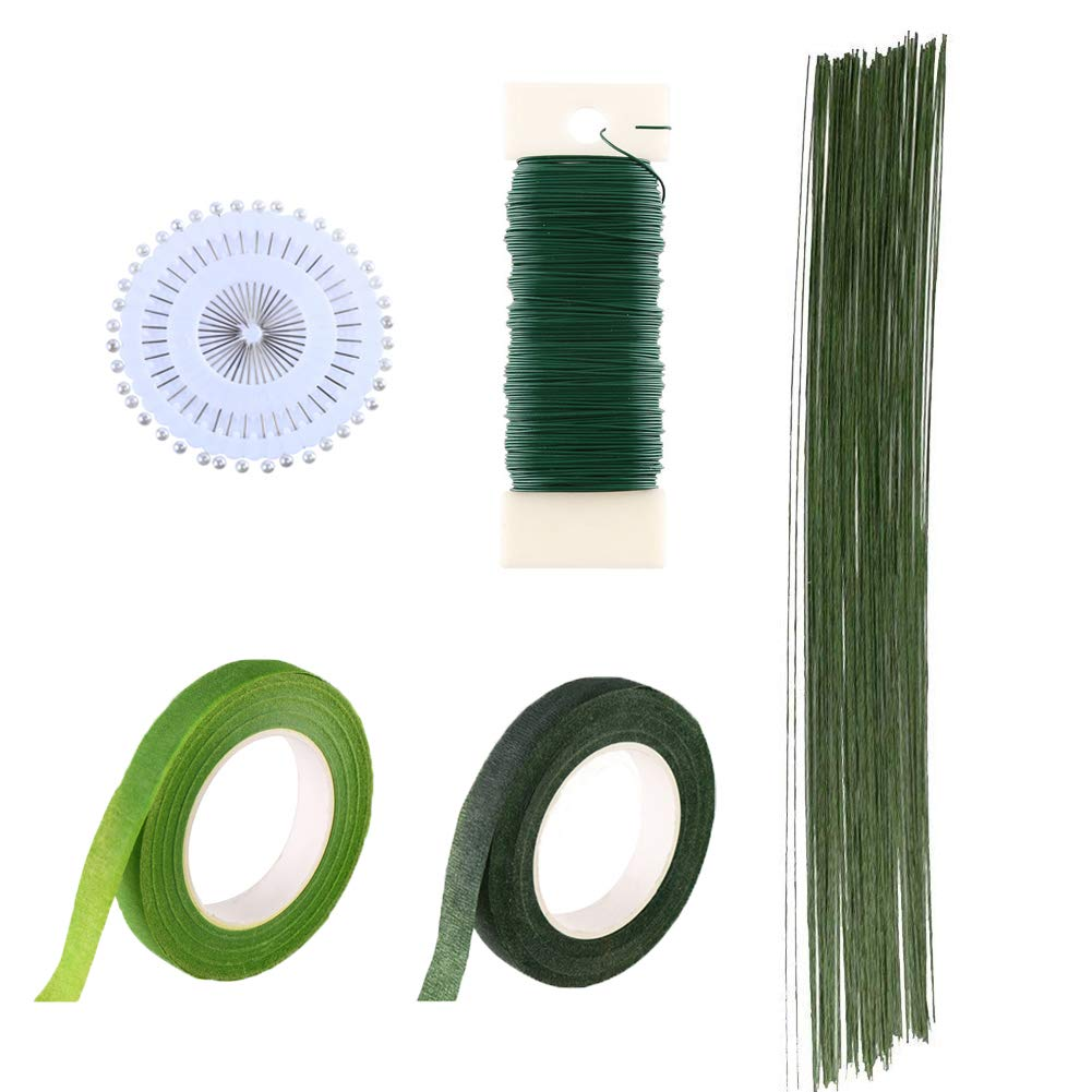 CCINEE Floral Arranging Kits 1/2 Inch Dark Green Floral Tapes with Dark Green Floral Wire and Straight Pearl Head Pins, Pack of 5