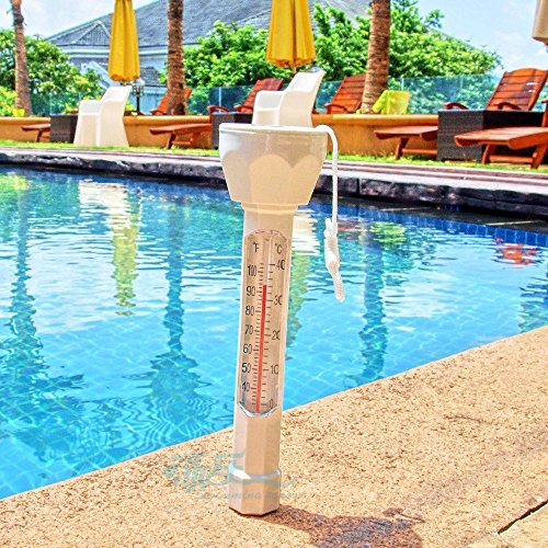 Aquatix Pro Large Floating Pool Thermometer Premium Water Temperature Thermometers with String, Shatter Resistant, for Outdoor & Indoor Swimming Pools, Spas, Hot Tubs, Aquariums & Fish Ponds (1)