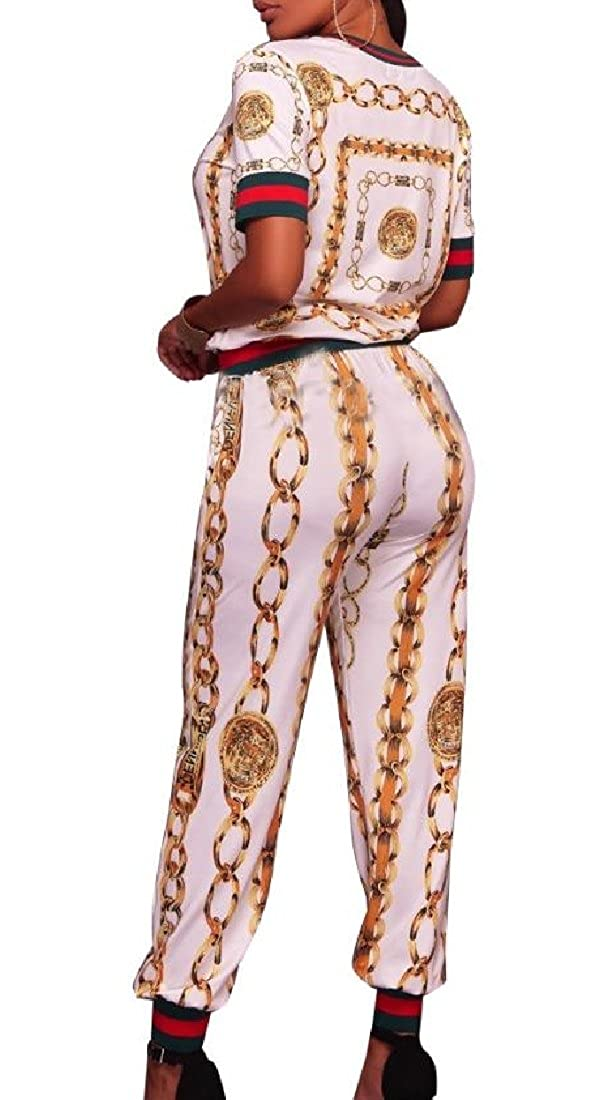Coolred-Women Graphic Print Short-Sleeve Slim Casual Tracksuit Set