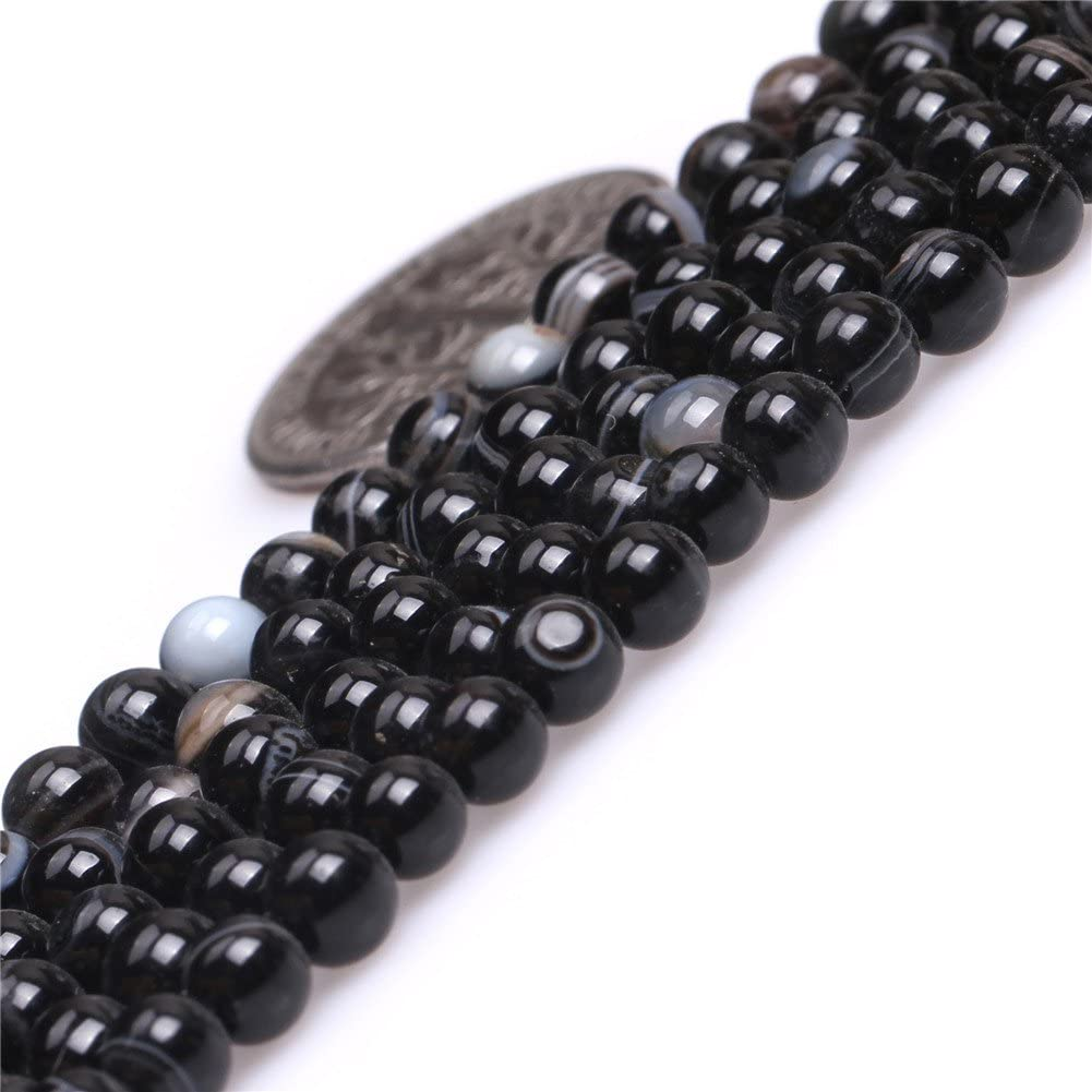 4mm Natural Black Onyx Beads Round Semi Precious Gemstone Beads for Jewelry Making Strand 15 Inch 95-100pcs