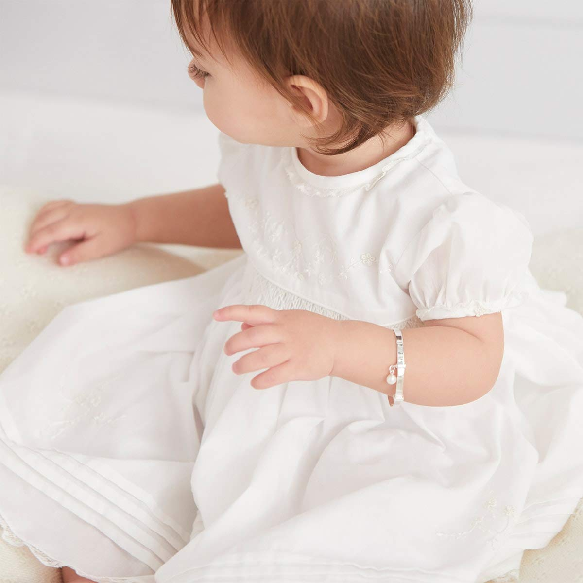 Personalised Babys First Pearl Christening Bangle Molly Brown London