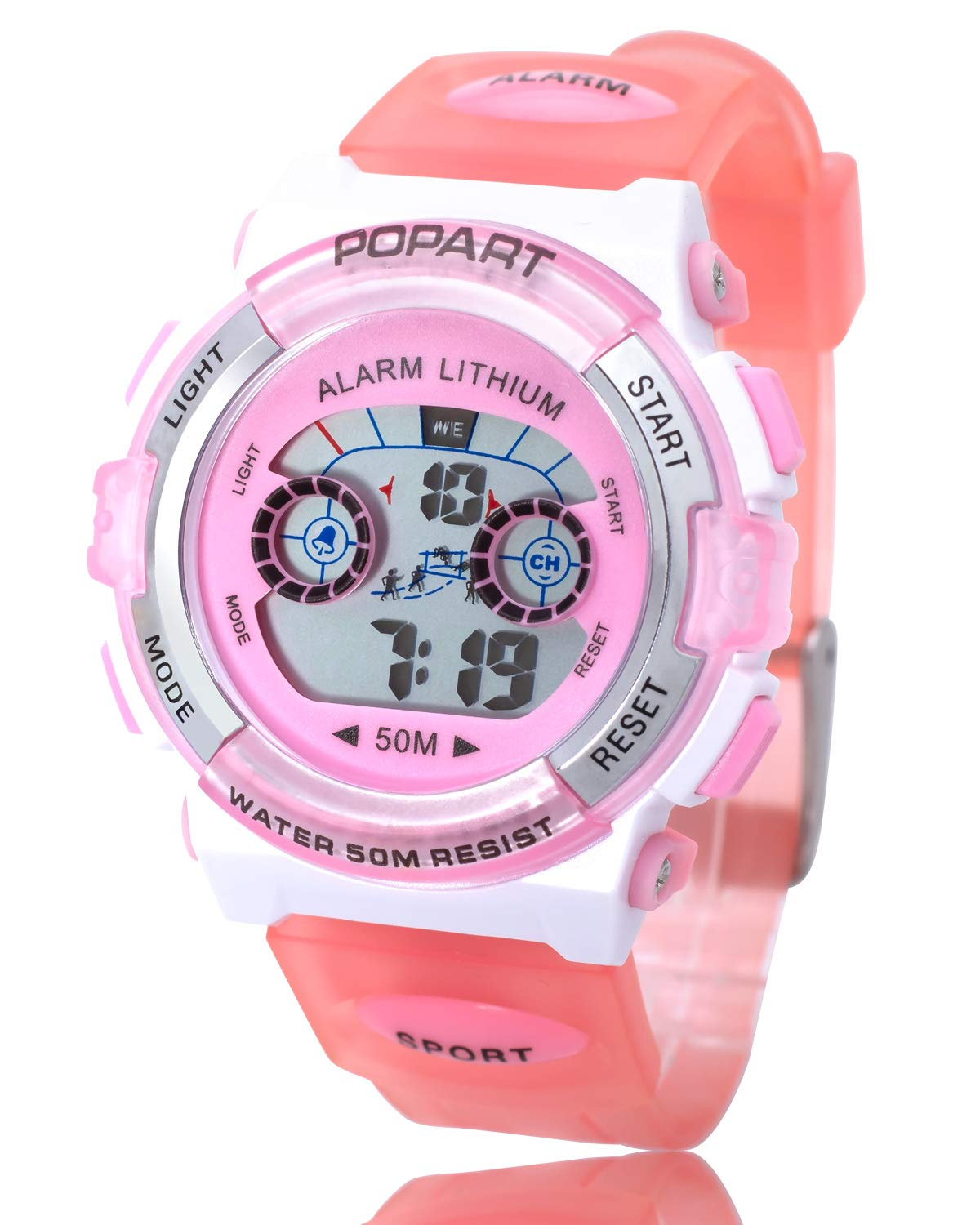 POPART Girl Toys Age 5-12, LED 50M Waterproof Digital Sport Watches for Kids Birthday Presents Gifts for 5-13 Year Old Girls - Pink by POPART