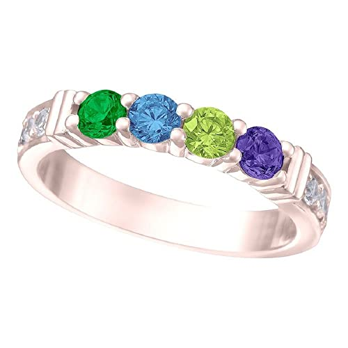 1fdb6d513aa6f NANA Shared Prong w/side stones Mothers Ring 1 to 6 Stones in Silver or 10k  White, Yellow or Rose Gold