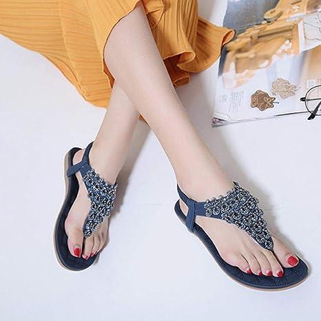 4071e6dcaa6 Women Bohemia Bling Bead Sandals Rubber Sole Clearance Flip Flop Bridesmaid  Party Slipper Flat T-