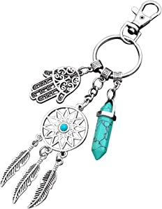 Dreamcatcher Keychain Keyring Hipster Gifts Silver Toned Key Chain Blue Turquoise Gemstone and Hamsa Hand Charm Keyring (Dreamcatcher Keychain with Blue Turquoise)