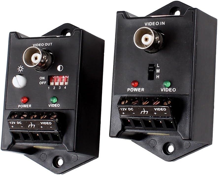 uxcell DC 9-12V BNC Female CCTV UTP Video Balun Transmitter Receiver Pair