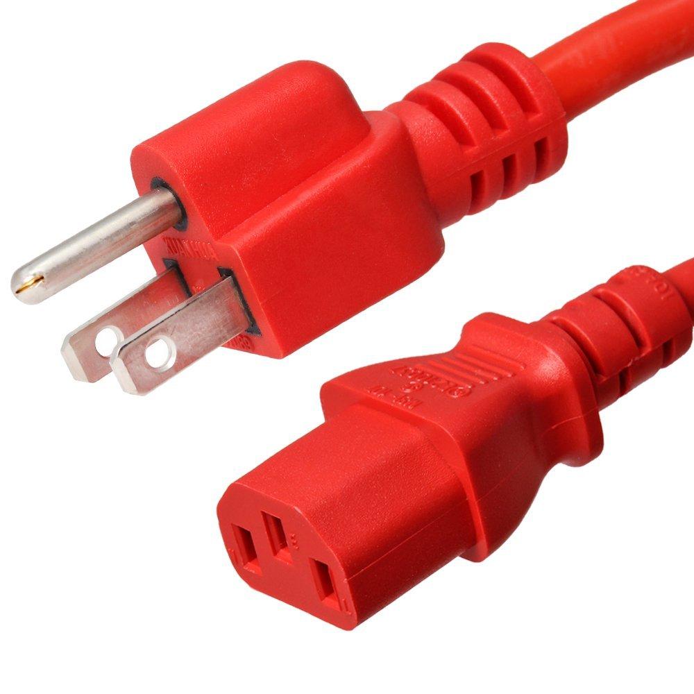 AC Power Cord 5-15P to C13 - Red, 8 Foot, 15A/250V, 14/3 AWG - Iron Box Part # IBX-2826-08