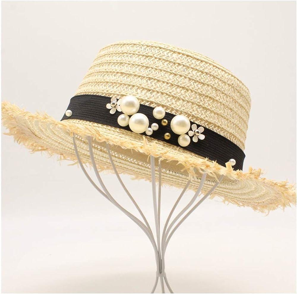 MISSMARCH Fashion Women Straw Baseball Cap Pearl Flower Decoration Lady Travel Hat Casual Breathable Fashion Beach Sun Hat A Sunscreen hat with a Large Brim