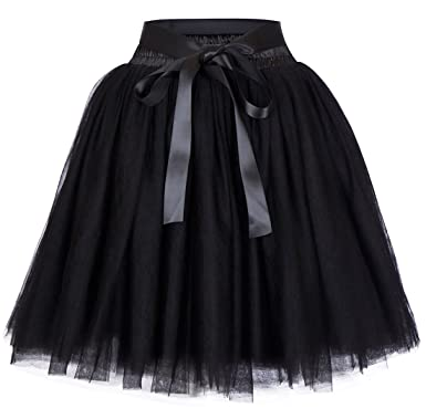 women's high waist princess tulle skirt adult dance petticoat a-line ...