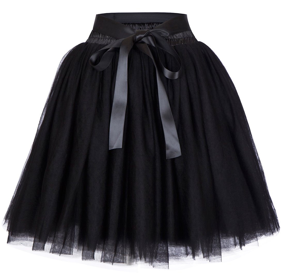 Women's High Waist Princess Tulle Skirt Adult Dance Petticoat A-line Wedding Party Tutu(Black),One Size