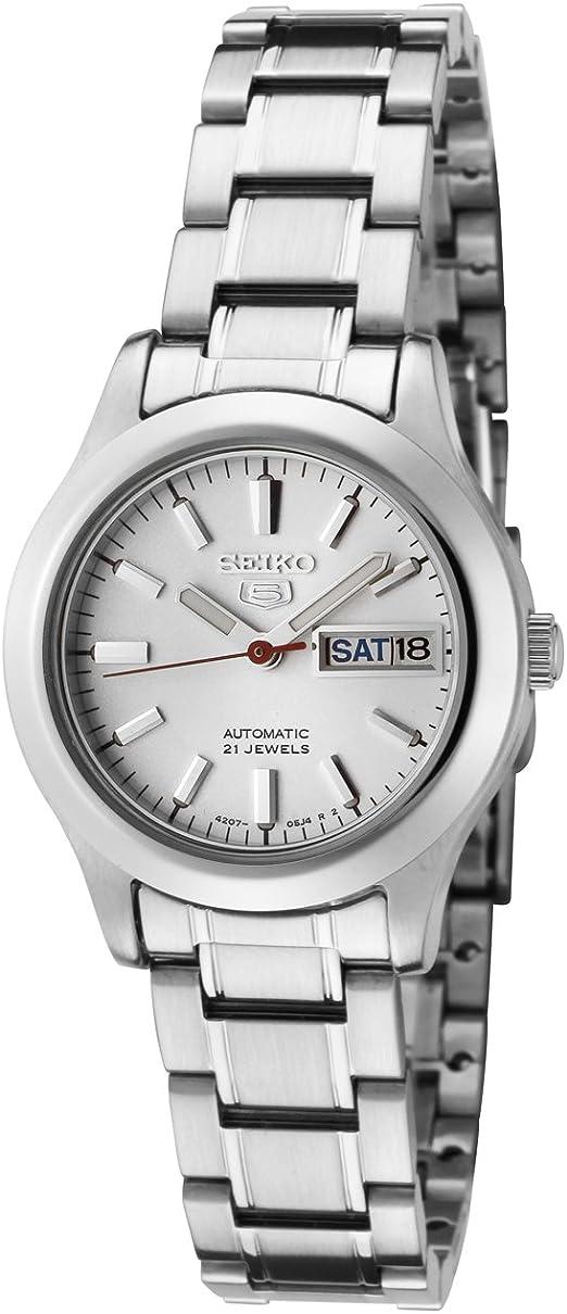Amazon Com Seiko Women S Symd87 Seiko 5 Automatic Light Silver Dial Stainless Steel Watch Seiko Watches
