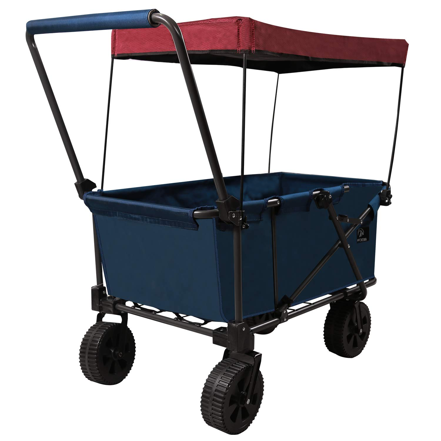 REDCAMP Folding Beach Wagon Cart with Big Wheels – 2.6 Wide, 1200D Canvas All Terrain Collapsible Utility Wagon for Sand Sports Outdoor Picnic Garden Use, Blue with Canopy