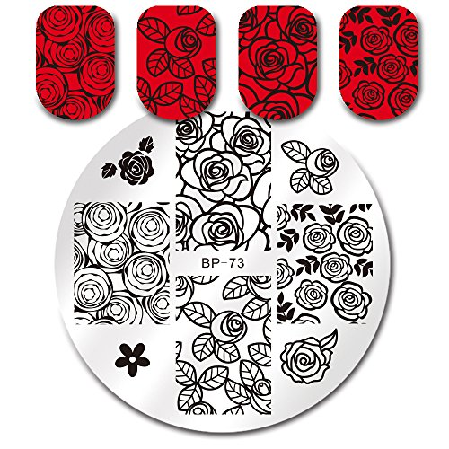 (Born Pretty Rose Nail Art Stamping Plate Flower Template Image Plate BP73)