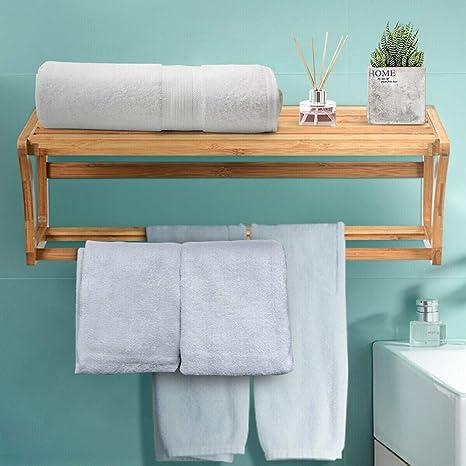 Amazon Com Kovalenthor Bamboo Towel Bar Wall Mounted Storage Towel Rack Bathroom Shelf Wall Mounted Towel Rack With Shelf Storage For Bath Household Items Brown Home Kitchen