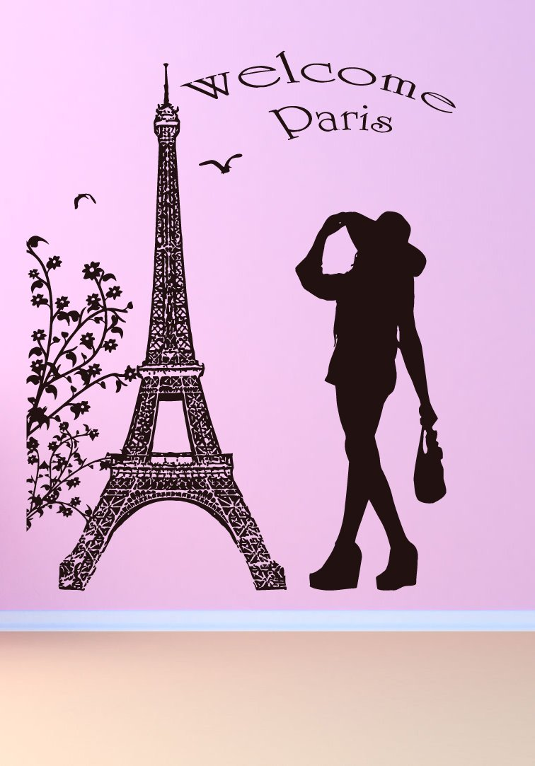 Amazon com wall vinyl sticker decals mural room design art decor bedroom welcome paris tower quote girl flowers cute bo2741 baby