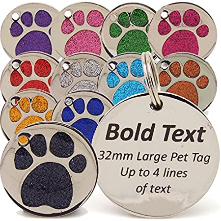 Personalised Engraved 32mm Glitter Paw Print Tag BOLD Contrasting Text, LARGE DOG Pet ID Tags (Light Pink) 61 toSZa99L