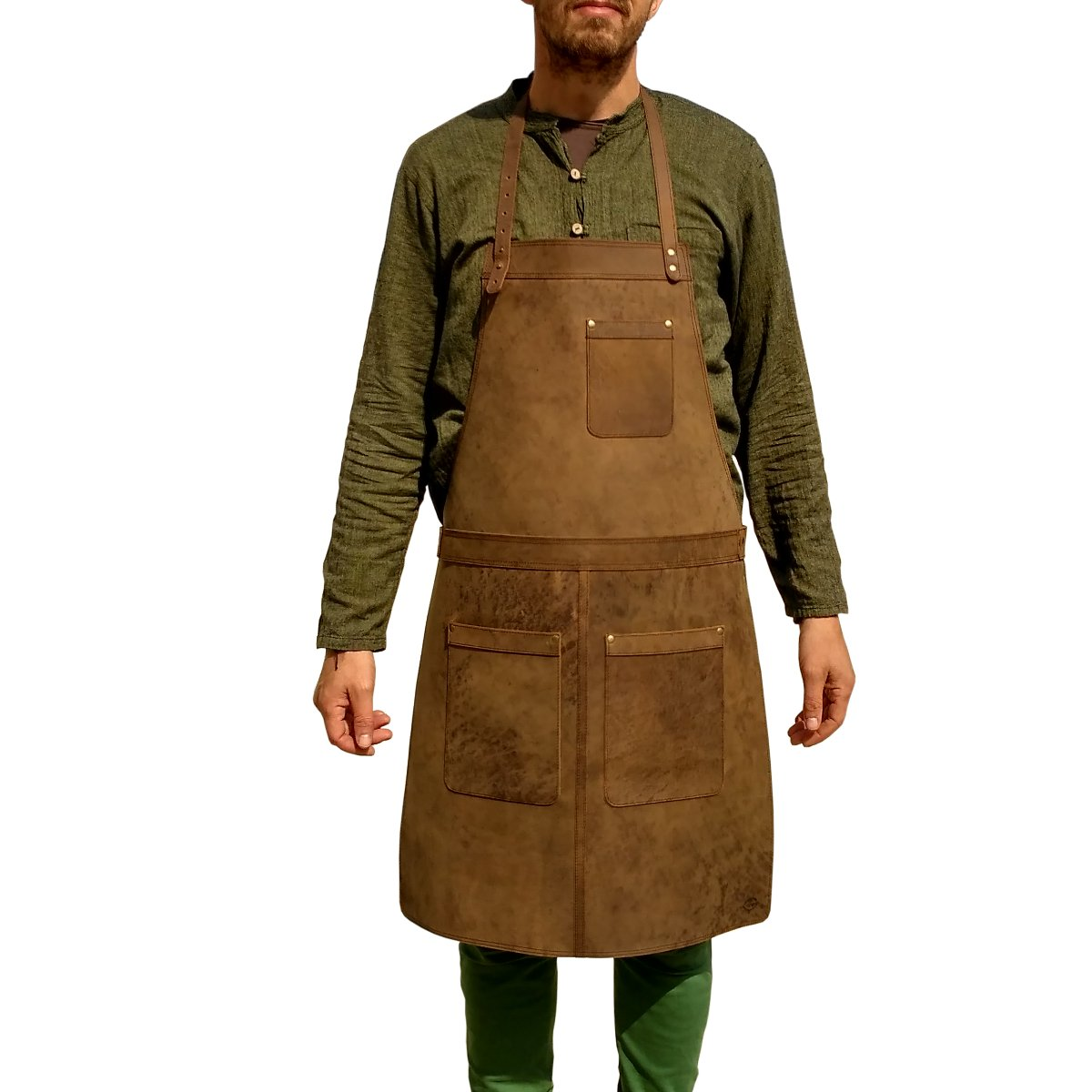 Ultimate Leather Apron for Professionals. from One Leaf (Brass Color Hardware)