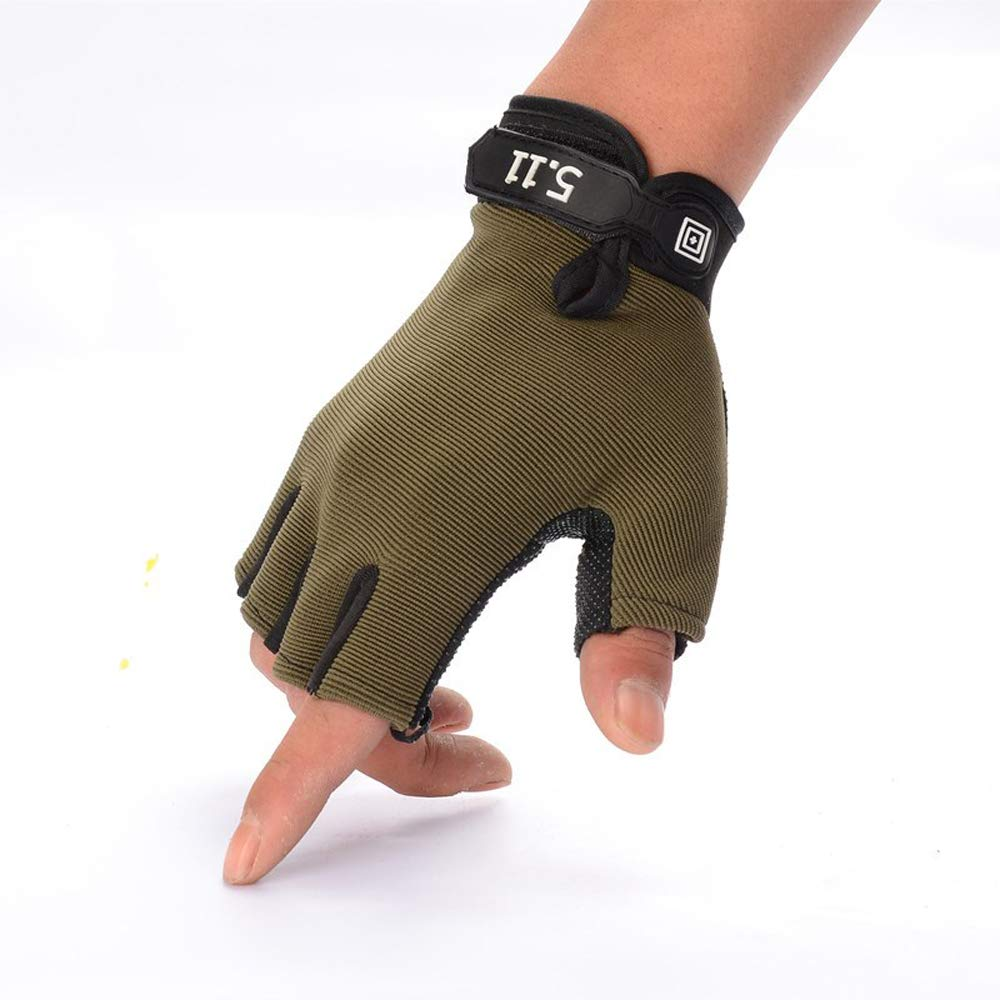 JIAHG Men Summer Driving Gloves Women Sunscreen Half Finger Fingerless Gloves Lightweight Summer UV Protection Cycling Gloves Breathable Gym Fitness Workout Motorcycling Cotton Gloves (Army Green#)