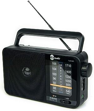 HDi Audio Home Portable Premium Retro AM/FM Analog Radio Player + Headphone Jack + Built in Speaker Rugged | Large Tuning Knob | Best Reception (Black)
