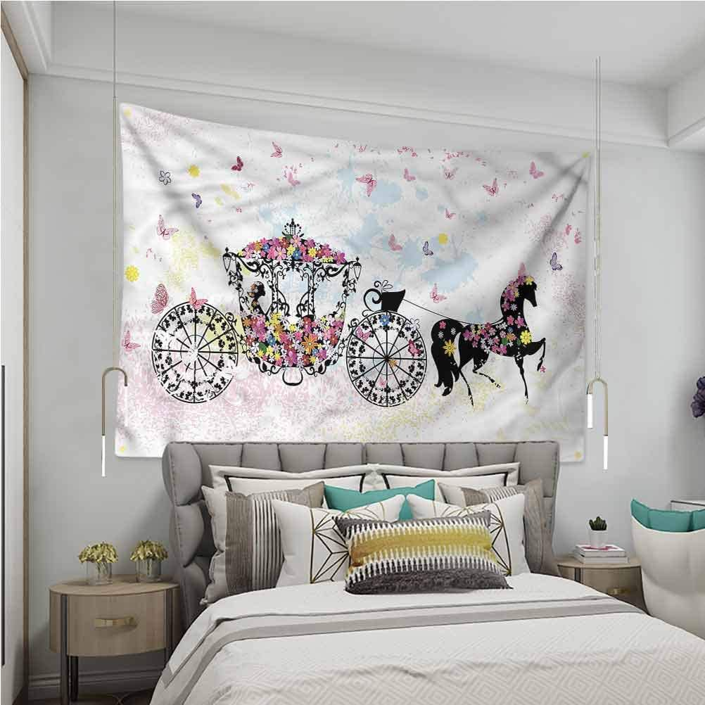 VVA Kids Tapestry hippieFloral Carriage with Horse Sofa Outdoor Decor Wall Hanging?
