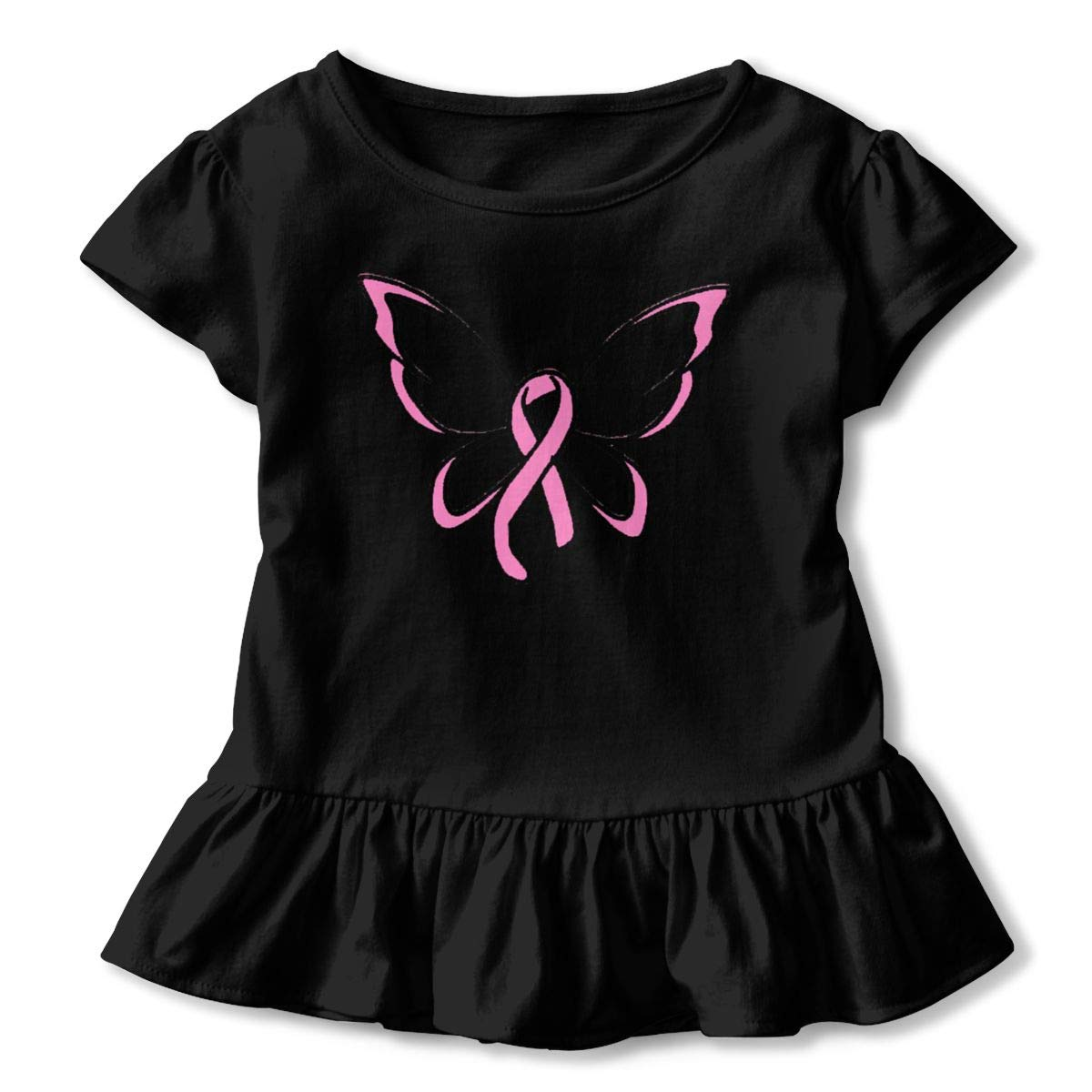 Breast Cancer Ribbon Butterfly Shirt Funny Little Baby Girls Flounced T Shirts Graphic Tees for 2-6T Baby Girls